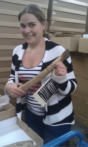 Big stick ideology: my student Tamara Hoogenboom and a walrus baculum from the collection of Naturalis Biodiversity Center